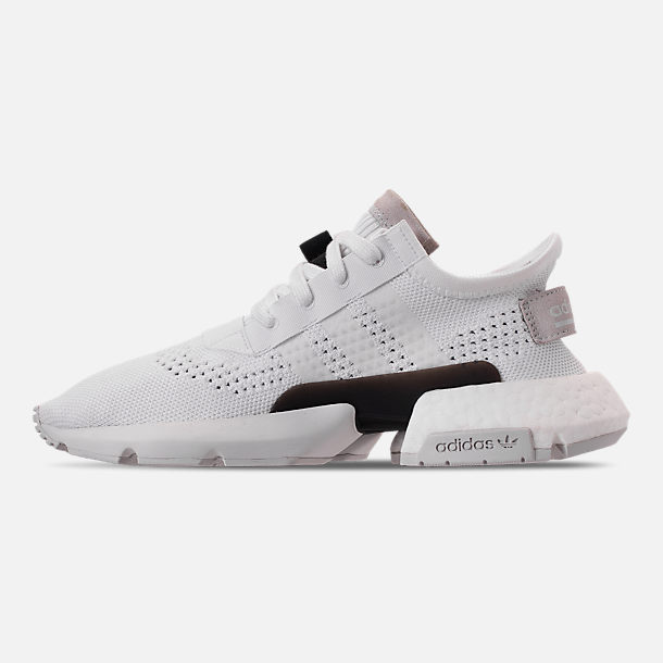 Left view of Women's adidas Originals POD-S3.1 Primeknit Casual Shoes in White/White/Shock Red
