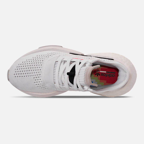 Top view of Women's adidas Originals POD-S3.1 Primeknit Casual Shoes in White/White/Shock Red