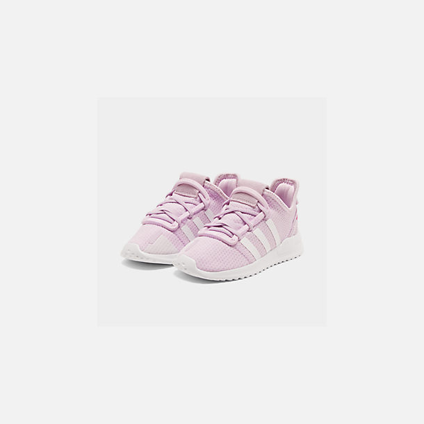 Three Quarter view of Girls' Toddler adidas U_Path Run Casual Shoes in Aero Pink/White/Core Black