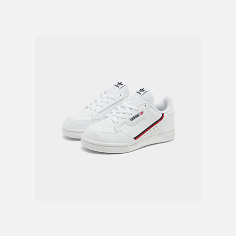 Three Quarter view of Little Kids' adidas Originals Continental 80 Casual Shoes in Footwear White/Scarlet/Collegiate Navy