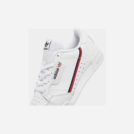 Front view of Little Kids' adidas Originals Continental 80 Casual Shoes in Footwear White/Scarlet/Collegiate Navy
