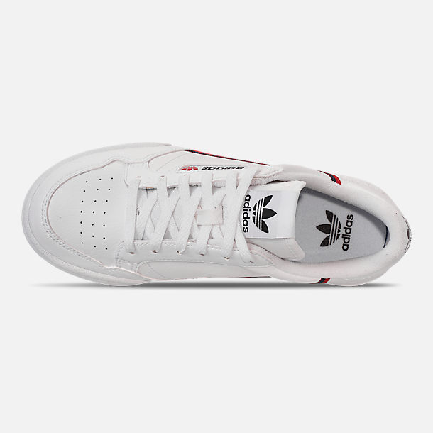 Top view of Little Kids' adidas Originals Continental 80 Casual Shoes in Footwear White/Scarlet/Collegiate Navy