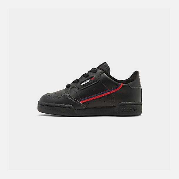 Right view of Boys' Toddler adidas Originals Continental 80 Casual Shoes in Core Black/Scarlet/Collegiate Navy
