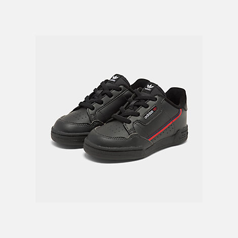 Three Quarter view of Boys' Toddler adidas Originals Continental 80 Casual Shoes in Core Black/Scarlet/Collegiate Navy