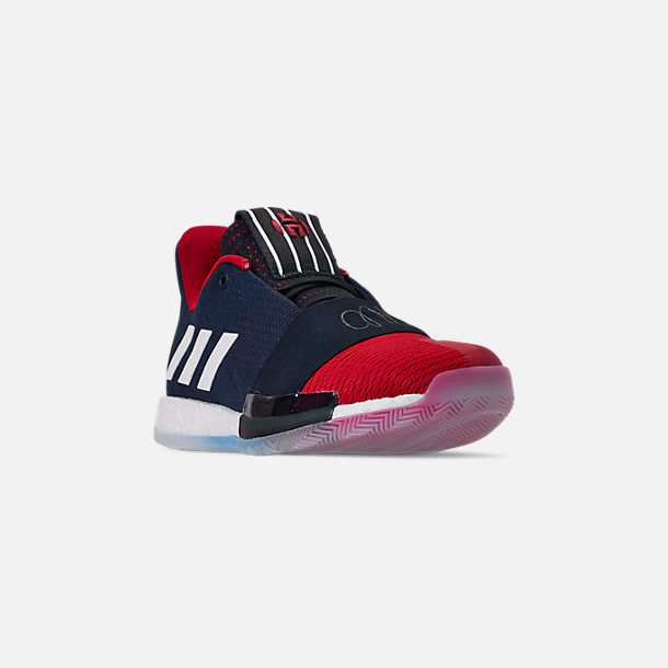 Three Quarter view of Men's adidas Harden Vol.3 Basketball Shoes in Legend Ink/Active Orange/Burgundy