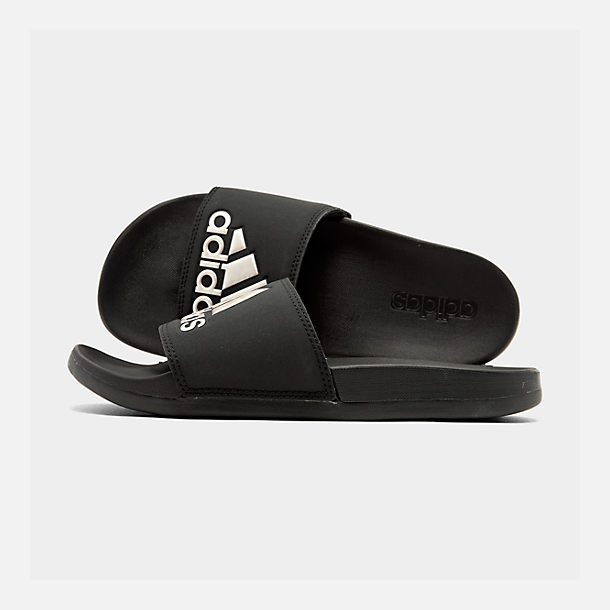 Right view of Women's adidas Adilette Slide Sandals in Core Black/Grey Metallic/Black