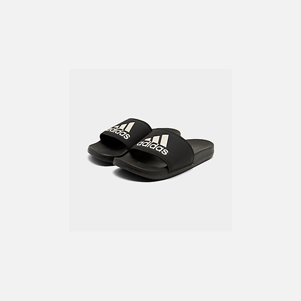 on sale a1c87 6e6a0 Three Quarter view of Women s adidas Adilette Slide Sandals in Core  Black Grey Metallic