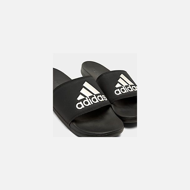 Front view of Women's adidas Adilette Slide Sandals in Core Black/Grey Metallic/Black
