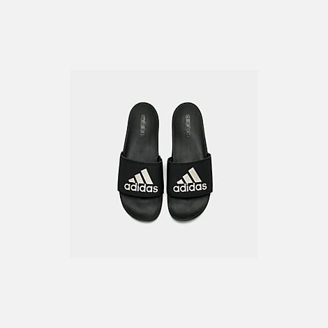 6c61c5810f75 Back view of Women s adidas Adilette Slide Sandals in Core Black Grey  Metallic Black