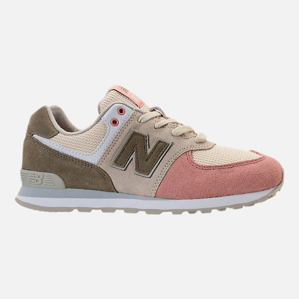 Right view of Boys' Grade School New Balance 574 Casual Shoes in Bone/Dusted Peach
