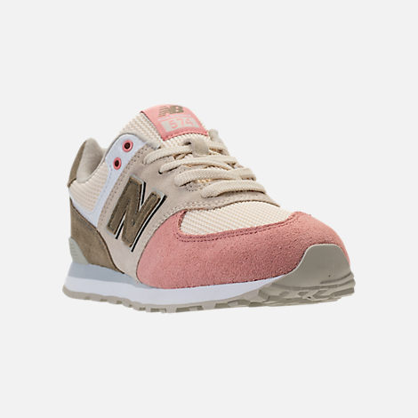 Three Quarter view of Boys' Grade School New Balance 574 Casual Shoes in Bone/Dusted Peach