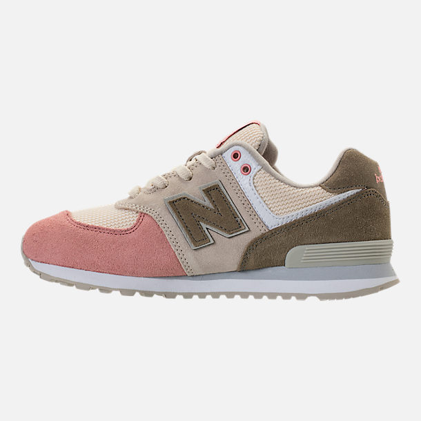 Left view of Boys' Grade School New Balance 574 Casual Shoes in Bone/Dusted Peach