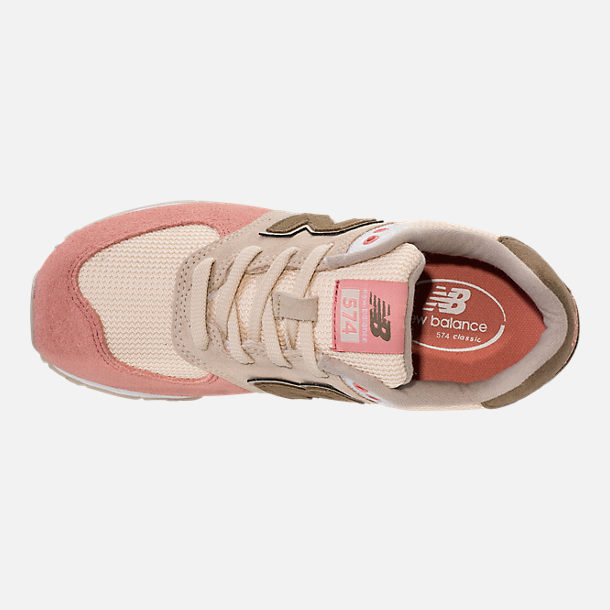 Top view of Boys' Grade School New Balance 574 Casual Shoes in Bone/Dusted Peach