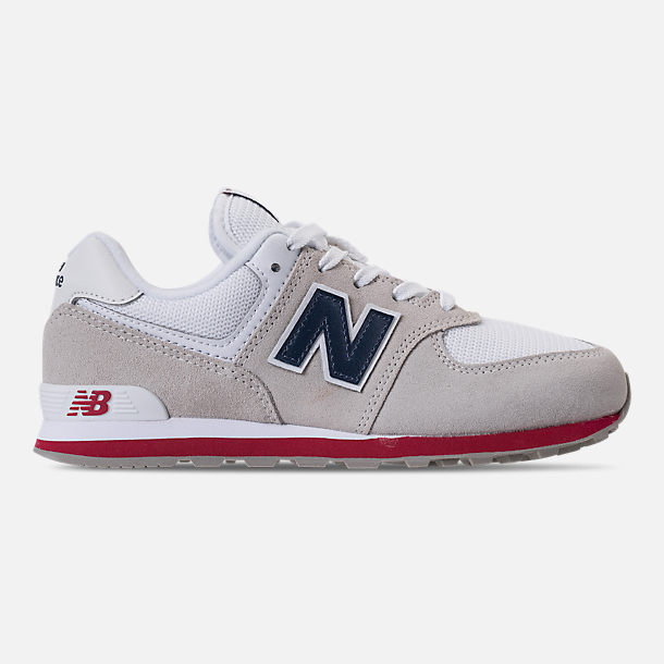 Right view of Boys' Grade School New Balance 574 Suede Casual Shoes in Nimbus Cloud/Navy