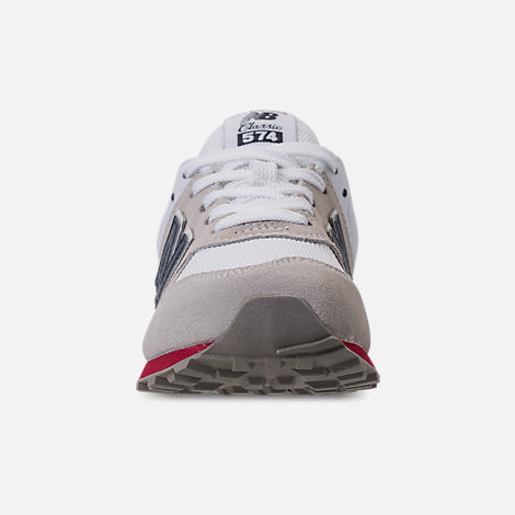 Front view of Boys' Grade School New Balance 574 Suede Casual Shoes in Nimbus Cloud/Navy