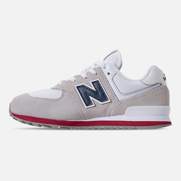 Left view of Boys' Grade School New Balance 574 Suede Casual Shoes in Nimbus Cloud/Navy