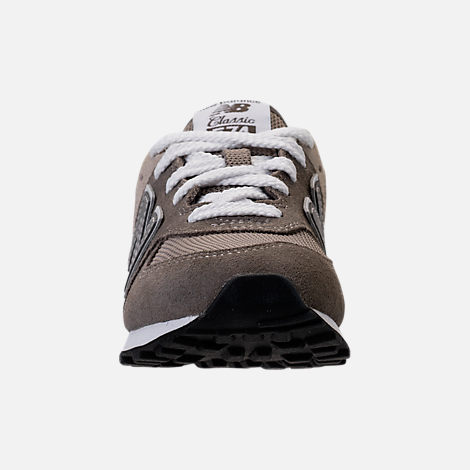 Front view of Boys' Grade School New Balance 574 Core Casual Shoes in Grey/Grey