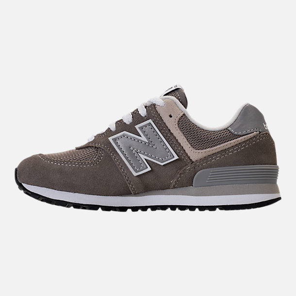 Left view of Boys' Grade School New Balance 574 Core Casual Shoes in Grey/Grey