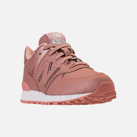 Three Quarter view of Girls' Big Kids' New Balance 574 Casual Shoes