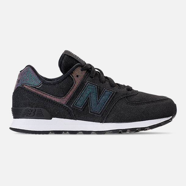 Right view of Girls' Big Kids' New Balance 574 Casual Shoes in Black/Multi Shimmer
