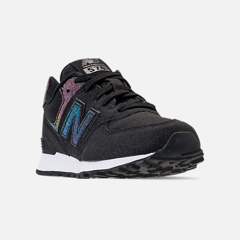Three Quarter view of Girls' Big Kids' New Balance 574 Casual Shoes in Black/Multi Shimmer