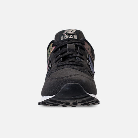Front view of Girls' Big Kids' New Balance 574 Casual Shoes in Black/Multi Shimmer