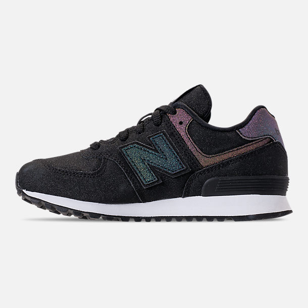 Left view of Girls' Big Kids' New Balance 574 Casual Shoes in Black/Multi Shimmer