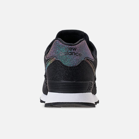 Back view of Girls' Big Kids' New Balance 574 Casual Shoes in Black/Multi Shimmer
