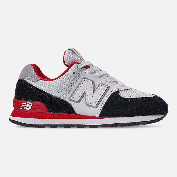 Right view of Boys' Big Kids' New Balance 574 Casual Shoes in Black/Team Red