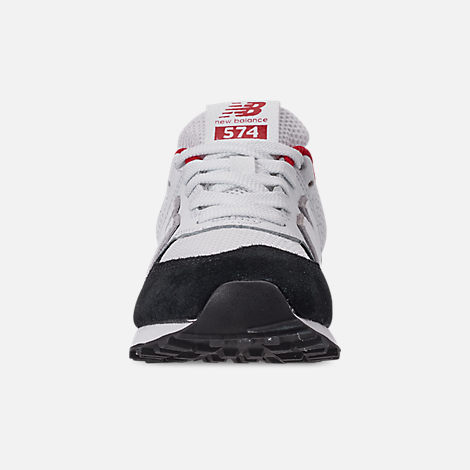Front view of Boys' Big Kids' New Balance 574 Casual Shoes in Black/Team Red