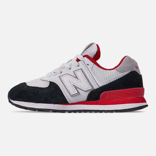 Left view of Boys' Big Kids' New Balance 574 Casual Shoes in Black/Team Red