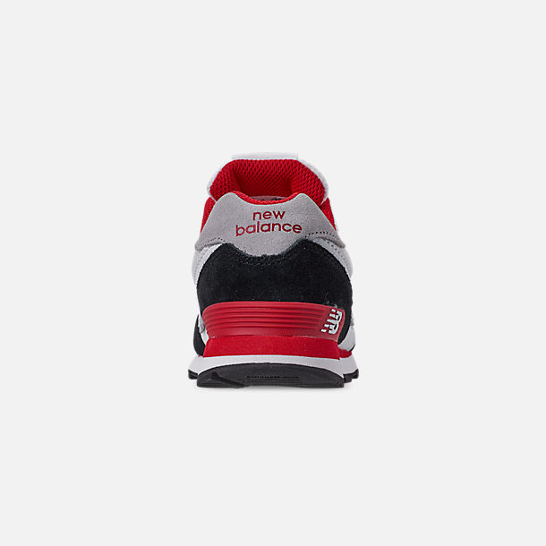 Back view of Boys' Big Kids' New Balance 574 Casual Shoes in Black/Team Red
