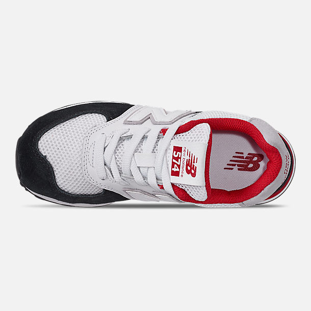 Top view of Boys' Big Kids' New Balance 574 Casual Shoes in Black/Team Red