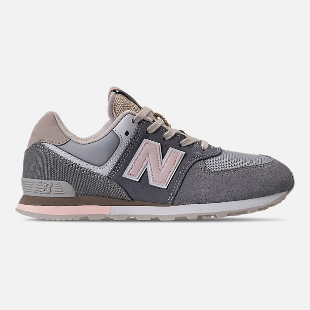 Right view of Girls' Grade School New Balance 574 Casual Shoes in Gunmetal/Steel