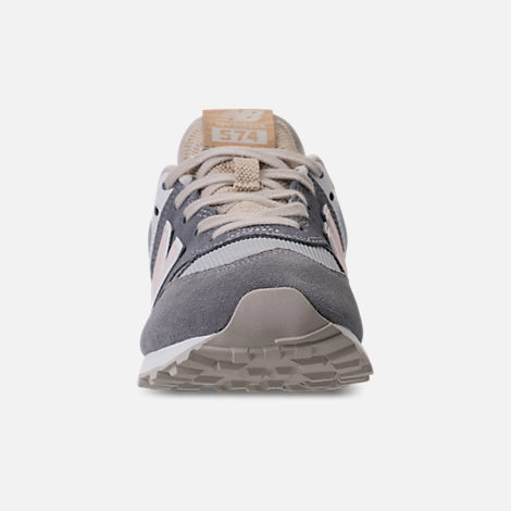 Front view of Girls' Grade School New Balance 574 Casual Shoes in Gunmetal/Steel