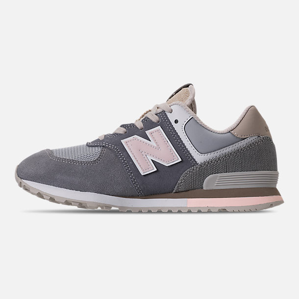 Left view of Girls' Grade School New Balance 574 Casual Shoes in Gunmetal/Steel