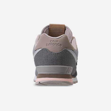 Back view of Girls' Grade School New Balance 574 Casual Shoes in Gunmetal/Steel