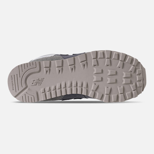 Bottom view of Girls' Grade School New Balance 574 Casual Shoes in Gunmetal/Steel