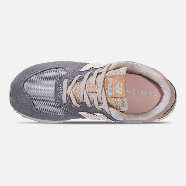 Top view of Girls' Grade School New Balance 574 Casual Shoes in Gunmetal/Steel