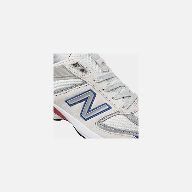 Front view of Boys' Big Kids' New Balance 990 V5 Casual Shoes in Nimbus Cloud/Team Royal