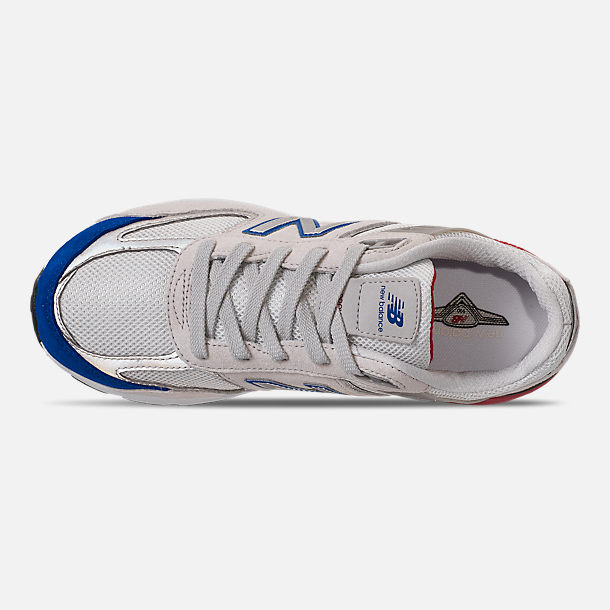 Top view of Boys' Big Kids' New Balance 990 V5 Casual Shoes in Nimbus Cloud/Team Royal