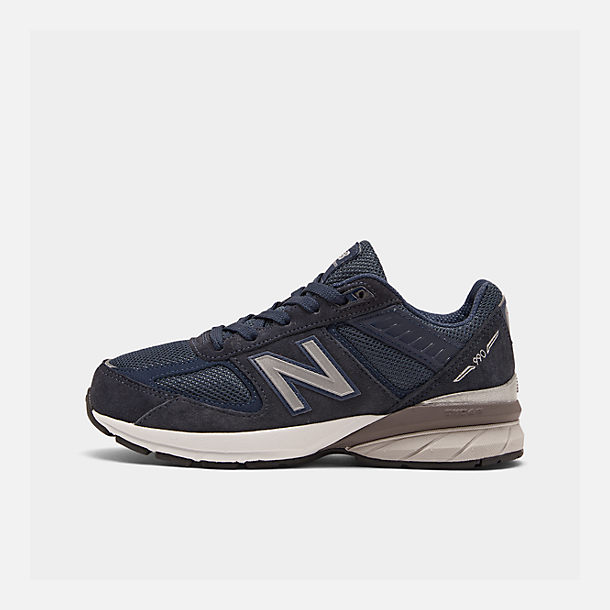 Right view of Boys' Big Kids' New Balance 990 V5 Casual Shoes in Navy/Navy