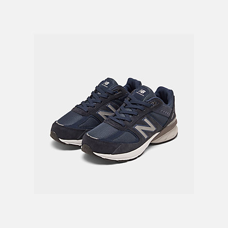 Three Quarter view of Boys' Big Kids' New Balance 990 V5 Casual Shoes in Navy/Navy
