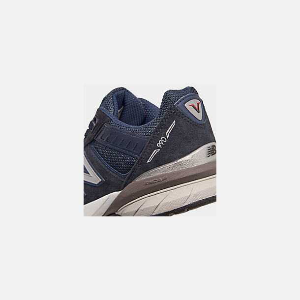 Front view of Boys' Big Kids' New Balance 990 V5 Casual Shoes in Navy/Navy