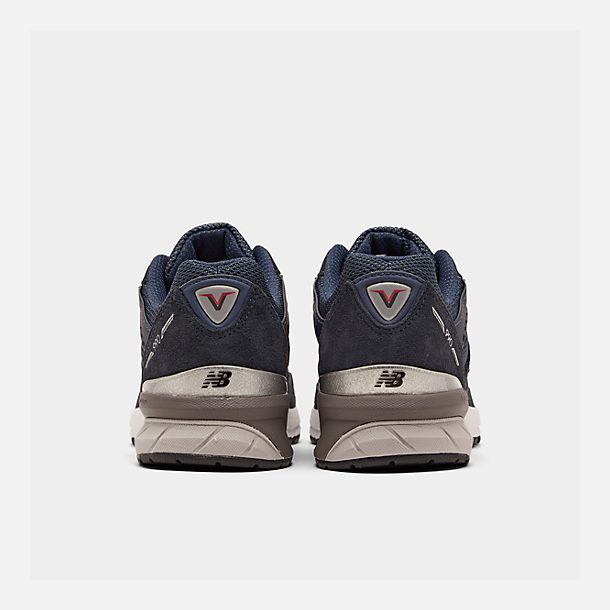 Left view of Boys' Big Kids' New Balance 990 V5 Casual Shoes in Navy/Navy