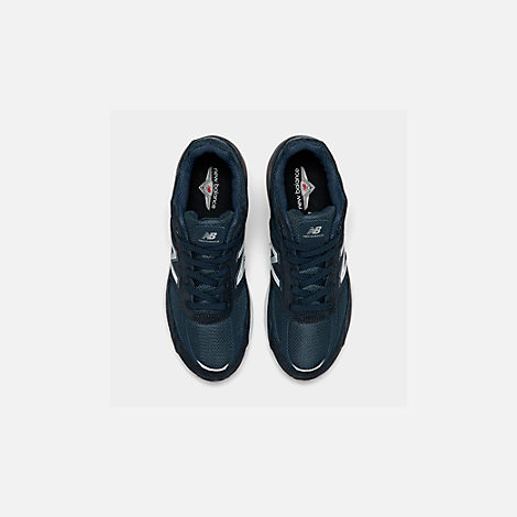 Back view of Boys' Big Kids' New Balance 990 V5 Casual Shoes in Navy/Navy