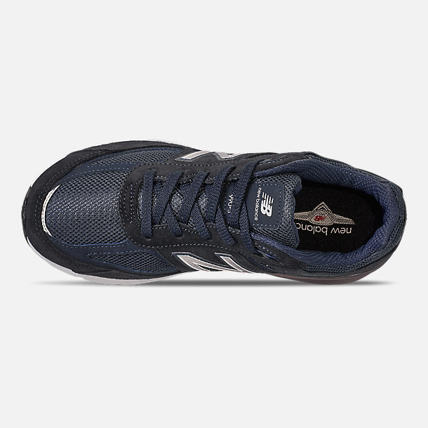 Top view of Boys' Big Kids' New Balance 990 V5 Casual Shoes in Navy/Navy