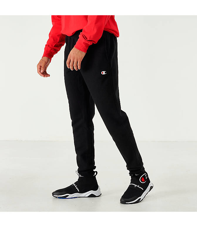 Front view of Men's Champion Reverse Weave Small Logo Jogger Pants in Black