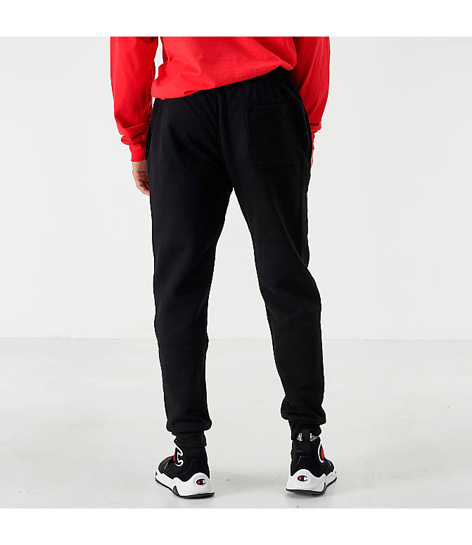 Back Left view of Men's Champion Reverse Weave Small Logo Jogger Pants in Black