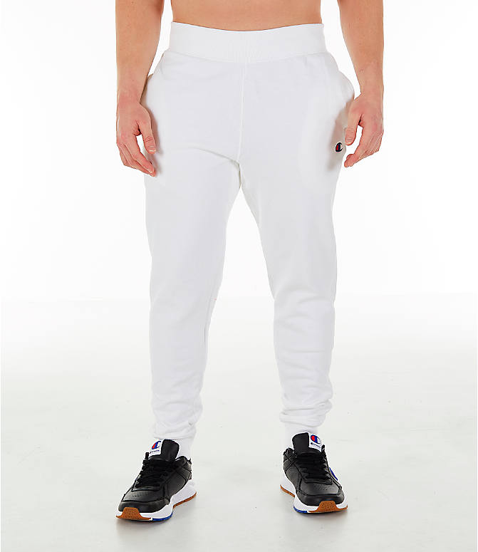 Front Three Quarter view of Men's Champion Reverse Weave Small Logo Jogger Pants in White